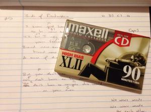 Cassette tape and lyrics.